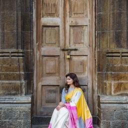 A colourful Op Art sari