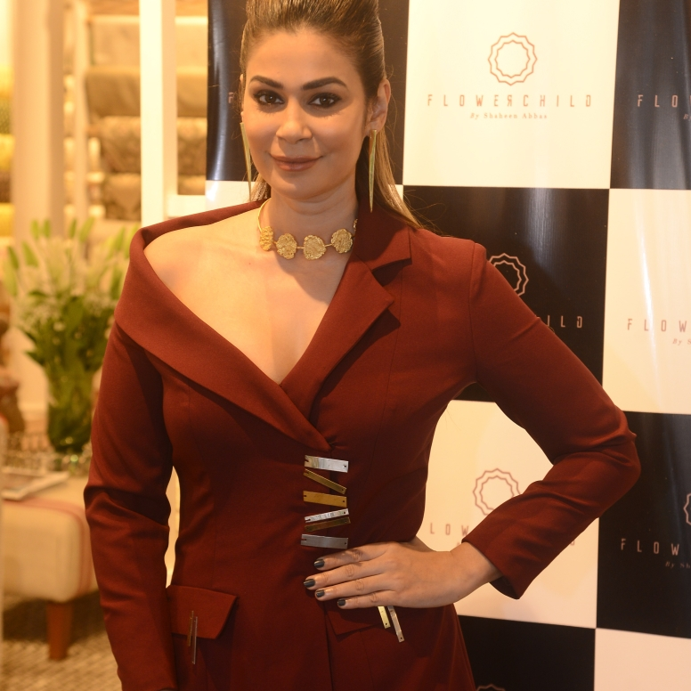 Designer Shaheen Abbas sports a statement neckpiece from the collection