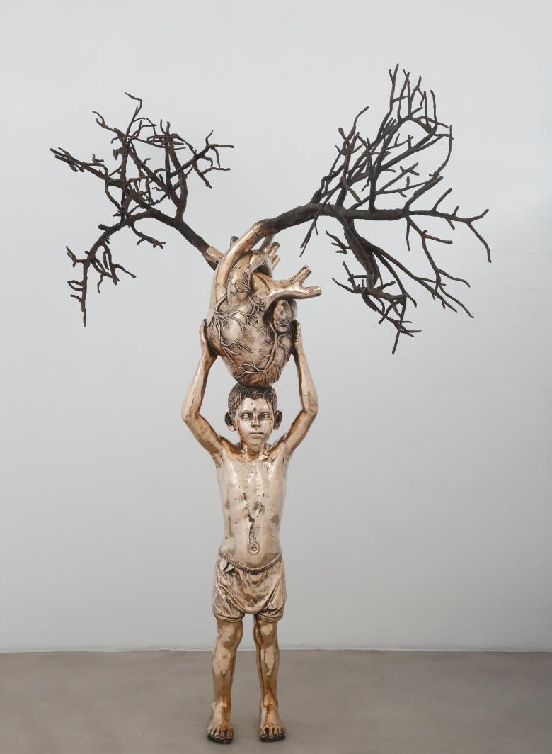 Heart on tree, Sculpture in bronze, 2017.JPG
