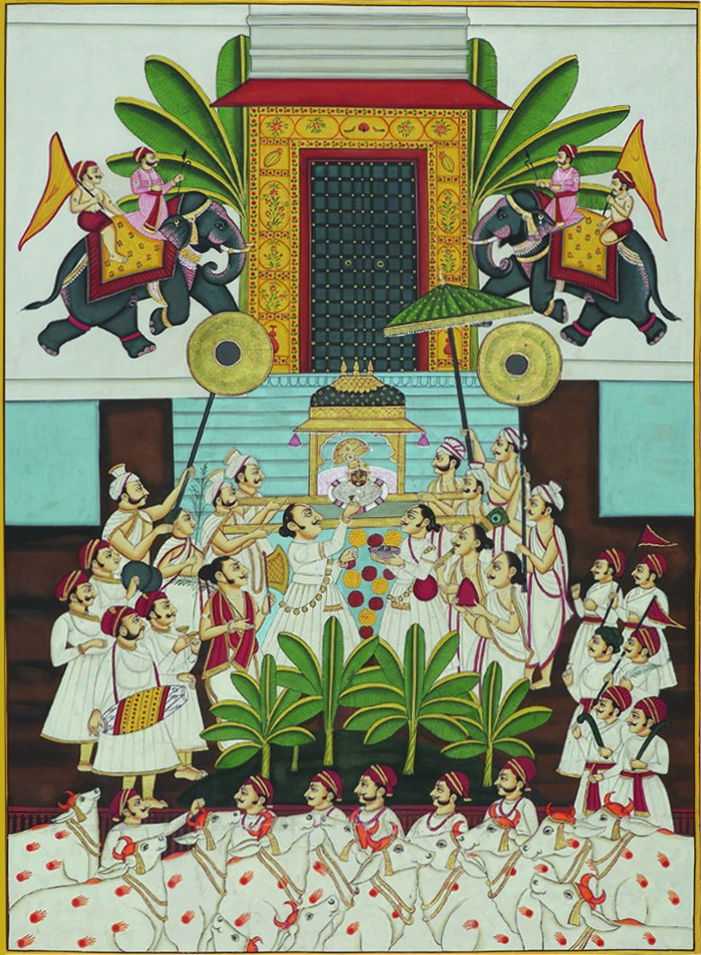 Pichvai Tradition & Beyond - Goverdhan Pooja - Nathdwara Contemporary - Stone colour on cloth - Size - 68 x 44 in.