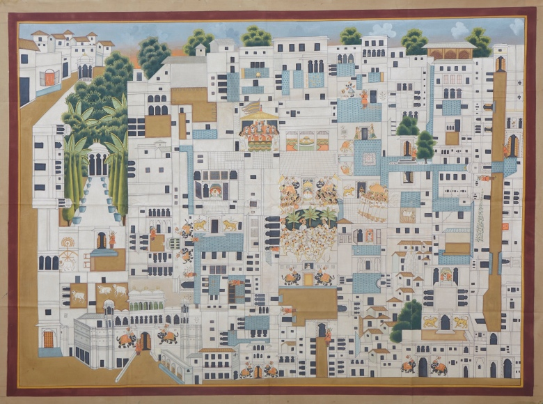 Pichvai Tradition & Beyond - The Haveli of Srinathji - Temple map - Stone colour on cloth - 72 x 95.5 inch