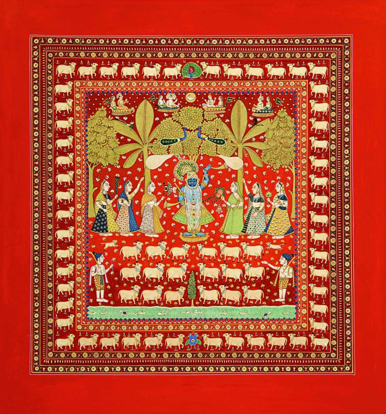 Pichvai Tradition & Beyond - Varsha Pichvai - Deccan Miniature - Gold and stone colour on basli - Size - 15 x 13.5 in